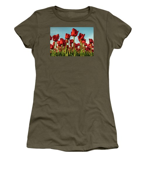 Women's T-Shirt featuring the photograph Dutch Red Tulip Field. by Anjo Ten Kate