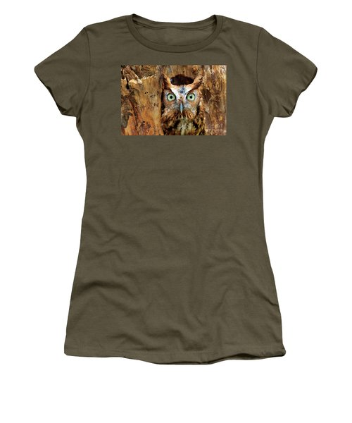 Eastern Screech Owl Perched In A Hole In A Tree Women's T-Shirt