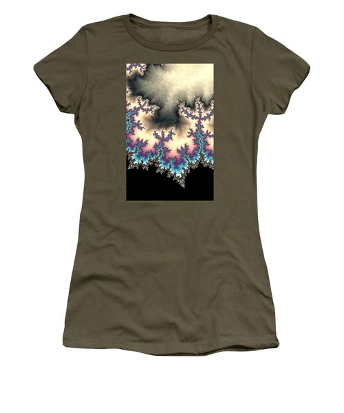 Women's T-Shirt featuring the digital art Electric Storm Fractal Abstract by Shelli Fitzpatrick