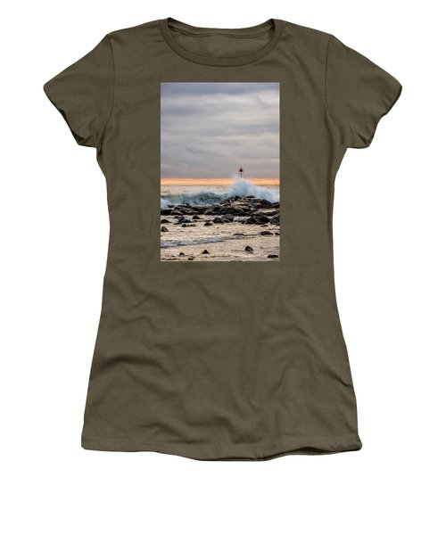 Women's T-Shirt featuring the photograph Explosive Sea 1 by Jeff Sinon