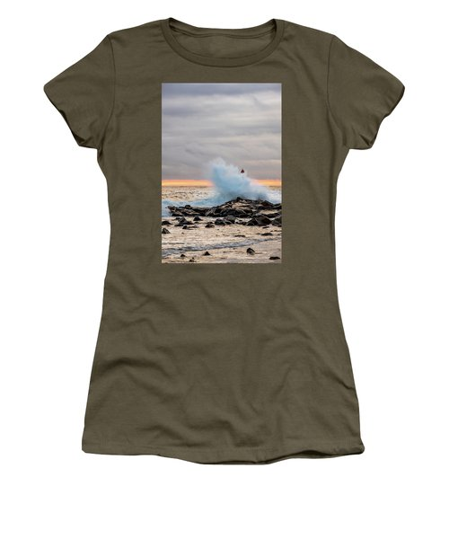 Women's T-Shirt featuring the photograph Explosive Sea 2 by Jeff Sinon