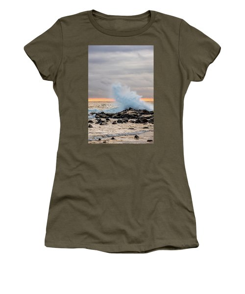 Women's T-Shirt featuring the photograph Explosive Sea 3 by Jeff Sinon