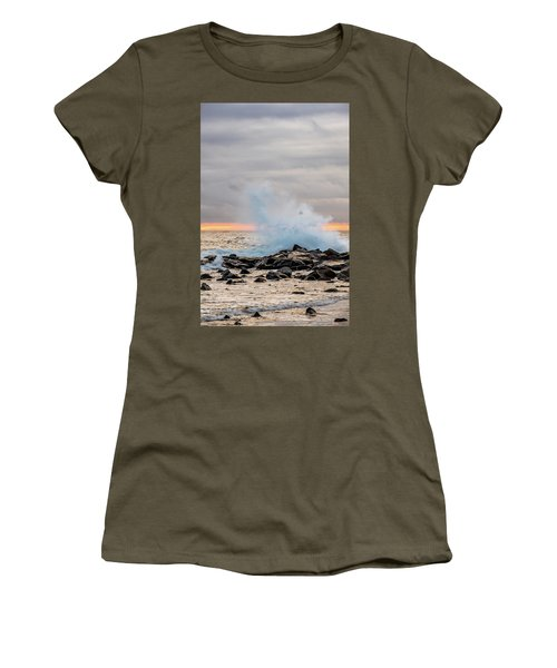 Women's T-Shirt featuring the photograph Explosive Sea 4 by Jeff Sinon