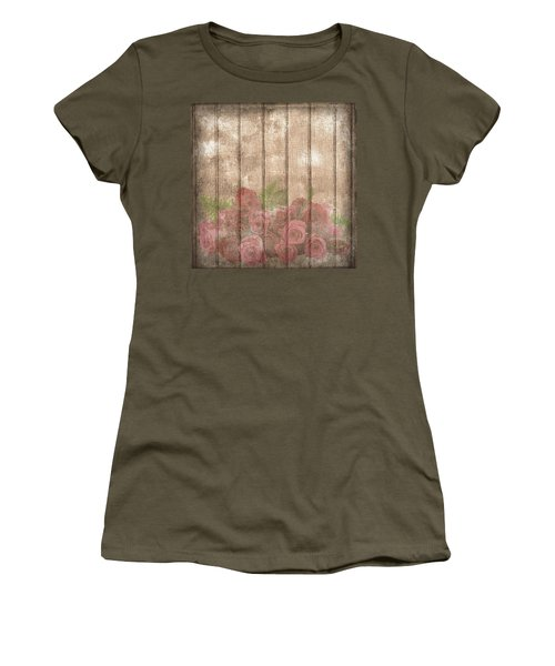 Faded Red Country Roses On Wood Women's T-Shirt