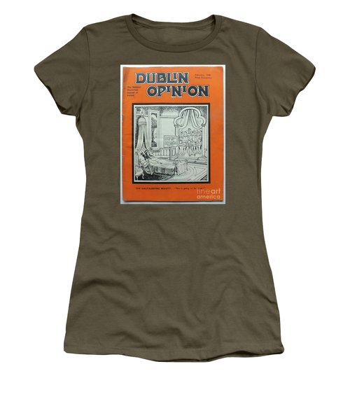Women's T-Shirt featuring the painting Feb1948 Dublin Opinion by Val Byrne