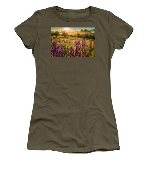Women's T-Shirt featuring the photograph Fields Of Lupine by Jeff Sinon