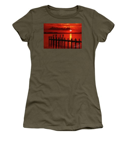 Women's T-Shirt featuring the photograph Fireball And Pier Sunrise by Tom Claud
