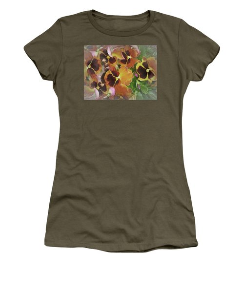 Women's T-Shirt featuring the mixed media Flaming Pansies 9  by Lynda Lehmann