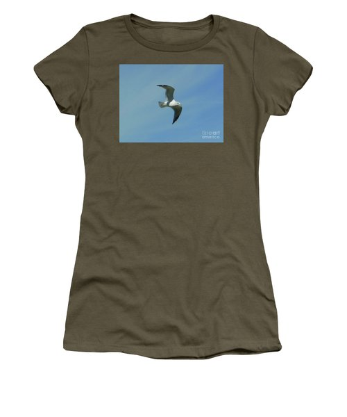 Women's T-Shirt featuring the photograph Flying Seagull by Rockin Docks