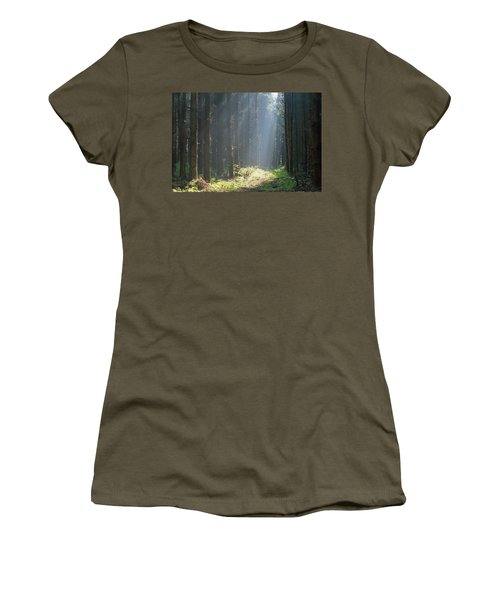 Women's T-Shirt featuring the photograph Forrest And Sun by Anjo Ten Kate