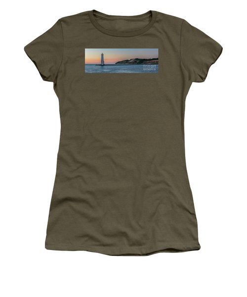 Frankfort North Breakwater Lighthouse Dusk Panorama Women's T-Shirt