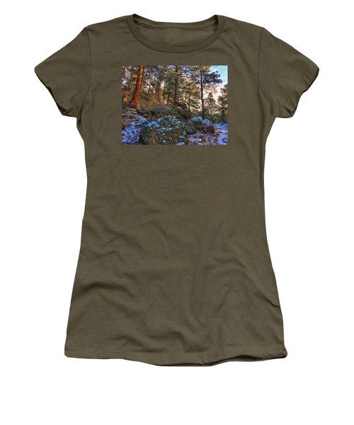 Women's T-Shirt featuring the photograph Fresh Snow On Fillius Ridge by Dan Miller
