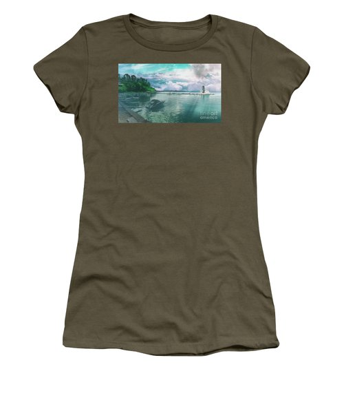 Women's T-Shirt featuring the photograph From The Causeway Pontikonisi Corfu by Leigh Kemp