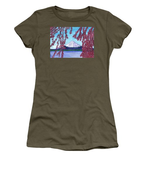 Sakura Blooming On The Background Of A Snowy Mountain Women's T-Shirt