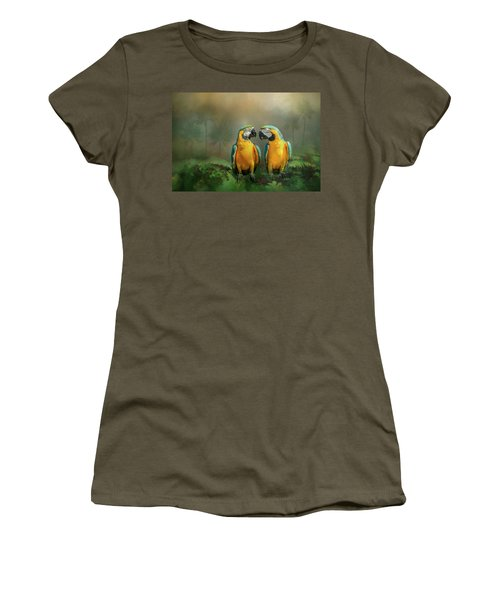 Women's T-Shirt featuring the photograph Gold And Blue Macaw Pair by Patti Deters