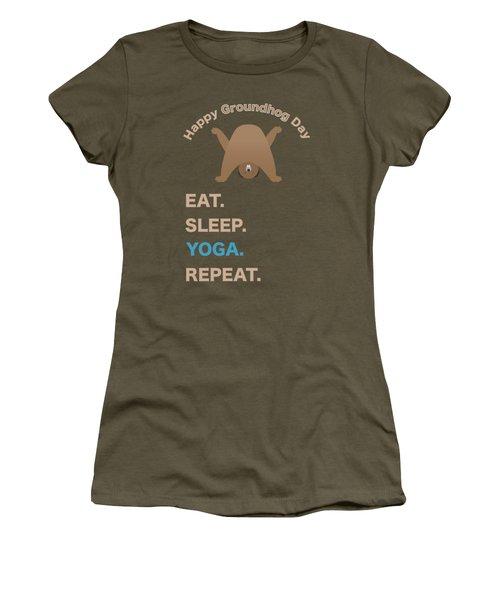 Groundhog Day Eat Sleep Yoga Repeat Women's T-Shirt