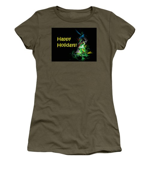 Women's T-Shirt featuring the digital art Happy Holidays - 2018-1 by Ludwig Keck