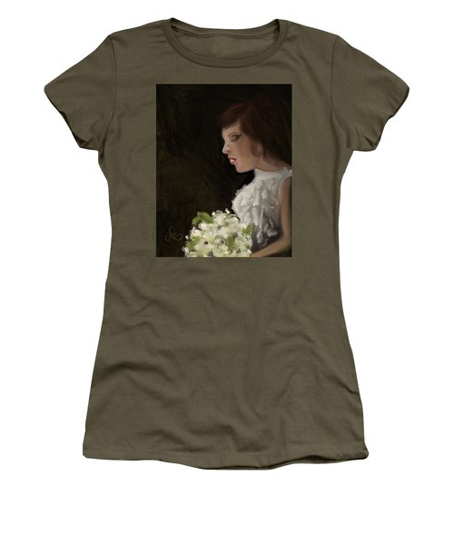 Women's T-Shirt featuring the painting Her Big Day by Fe Jones