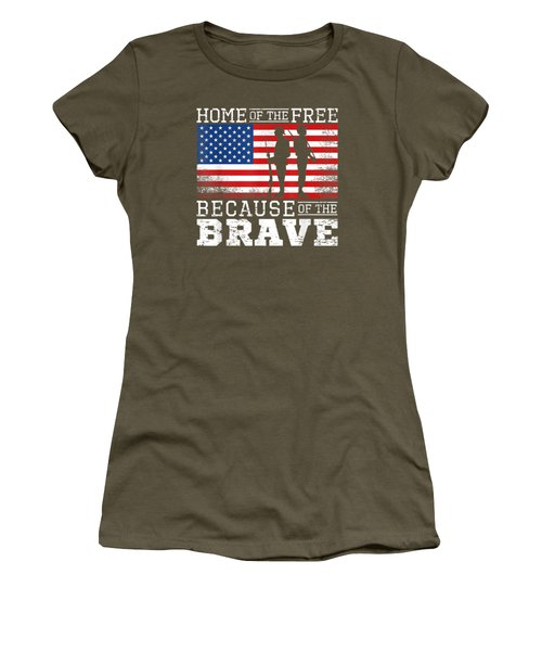 Home Of The Free Because Of The Brave Military American Flag T-shirt Women's T-Shirt