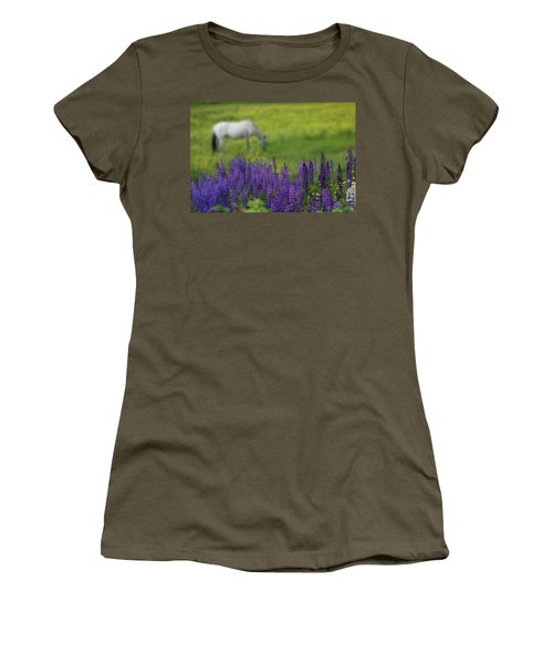 Women's T-Shirt featuring the photograph I Dreamed A Horse Among Lupine by Wayne King