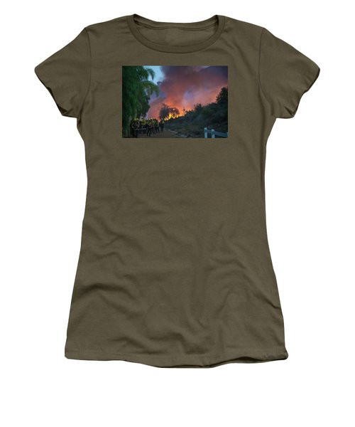 Women's T-Shirt (Athletic Fit) featuring the photograph In The Line Of Duty by Lynn Bauer