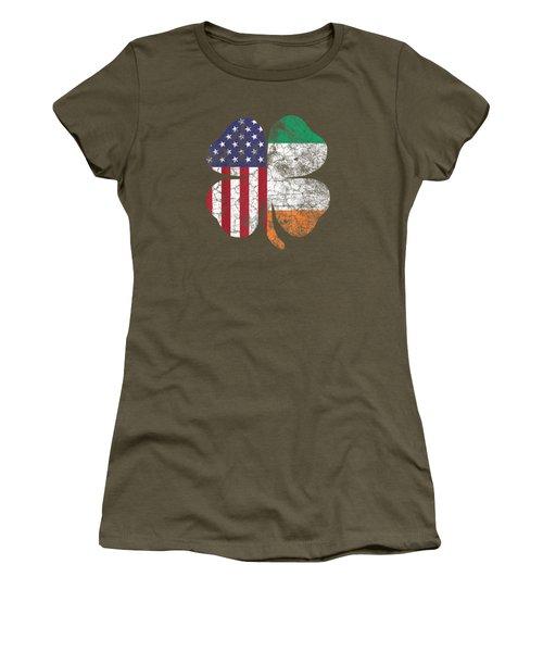 Irish American Flag Ireland Shamrock St Patricks Day T Shirt Women's T-Shirt
