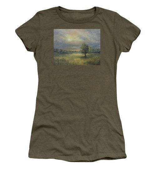 Landscape Of A Meadow With Sun And Trees Women's T-Shirt