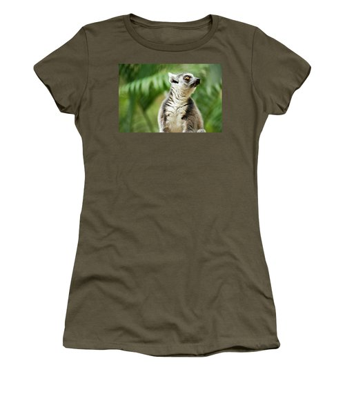 Women's T-Shirt featuring the photograph Lemur By Itself Amongst Nature. by Rob D Imagery