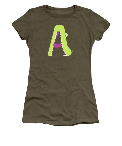 Letter A - Animal Alphabet - Alligator Monogram Women's T-Shirt
