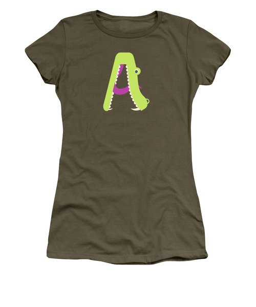 Letter A - Animal Alphabet - Alligator Monogram Women's T-Shirt