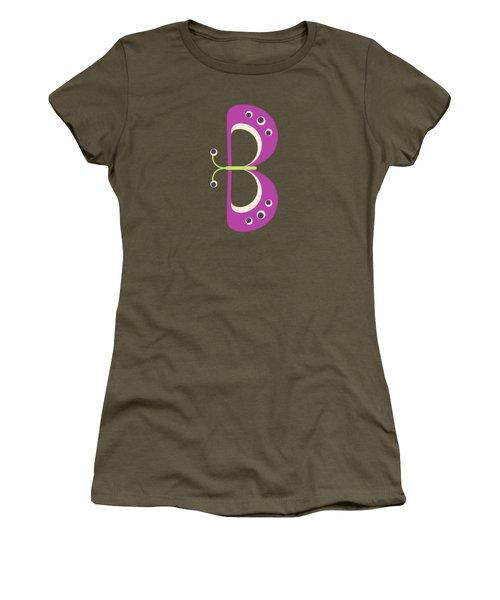 Letter B - Animal Alphabet - Butterfly Monogram Women's T-Shirt