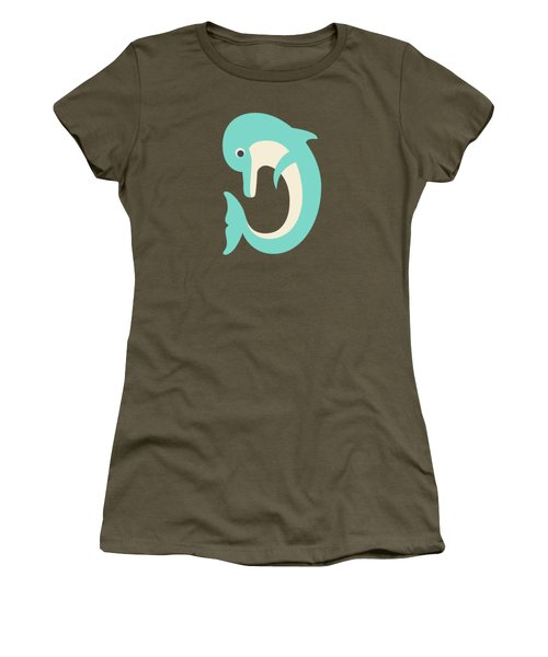 Letter D - Animal Alphabet - Dolphin Monogram Women's T-Shirt