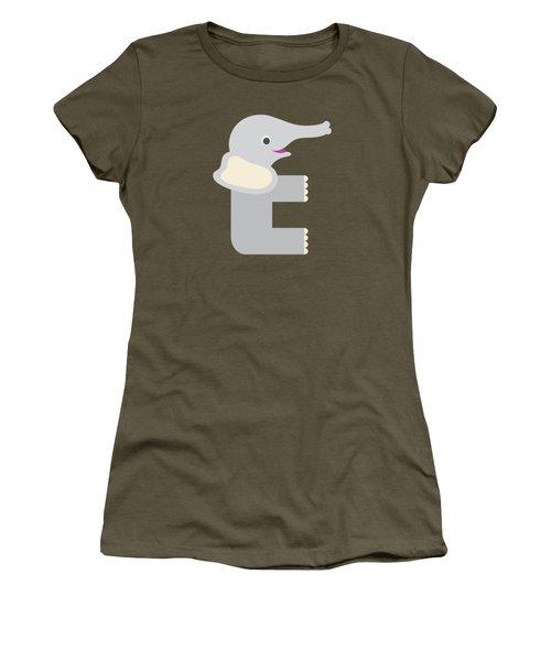 Letter E - Animal Alphabet - Elephant Monogram Women's T-Shirt