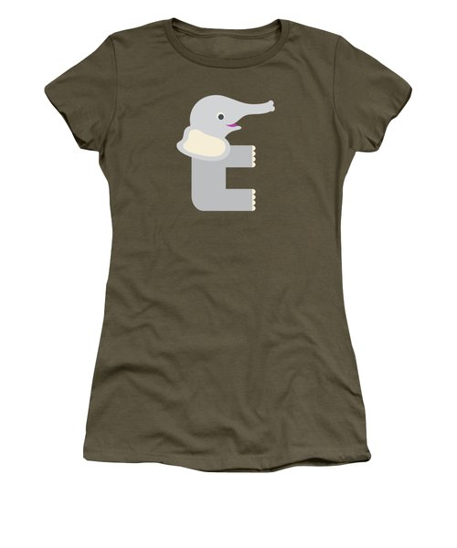 Letter E - Animal Alphabet - Elephant Monogram Women's T-Shirt