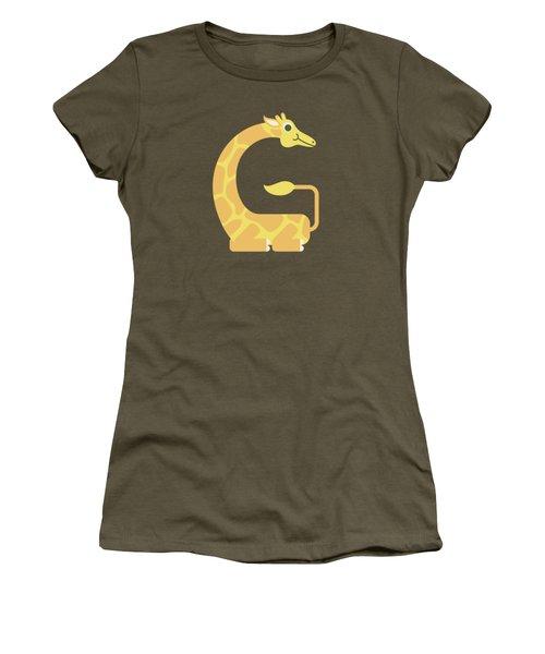 Letter G - Animal Alphabet - Giraffe Monogram Women's T-Shirt