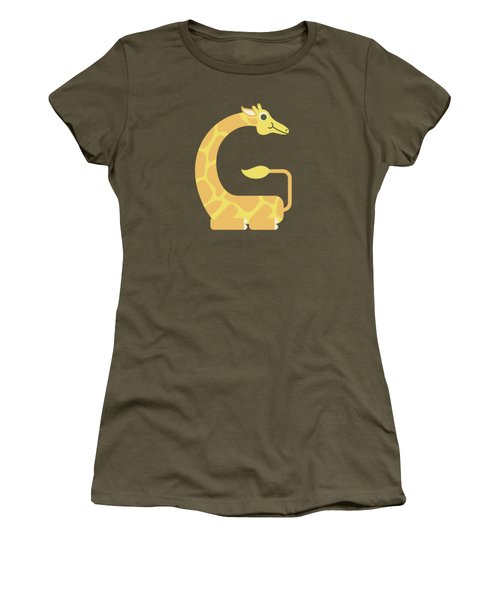Letter G - Animal Alphabet - Giraffe Monogram Women's T-Shirt