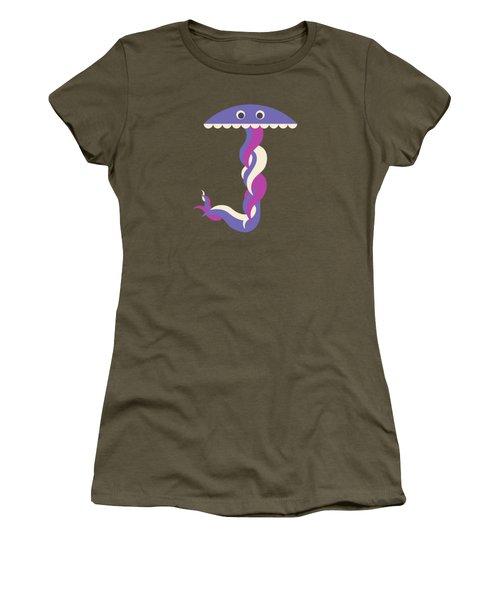 Letter J - Animal Alphabet - Jellyfish Monogram Women's T-Shirt
