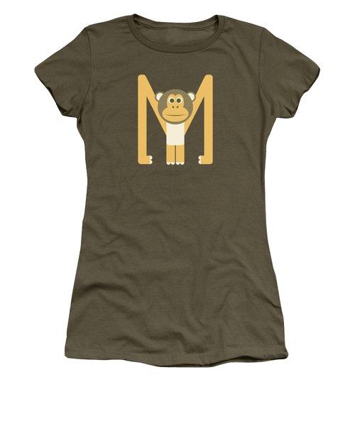 Letter M - Animal Alphabet - Monkey Monogram Women's T-Shirt