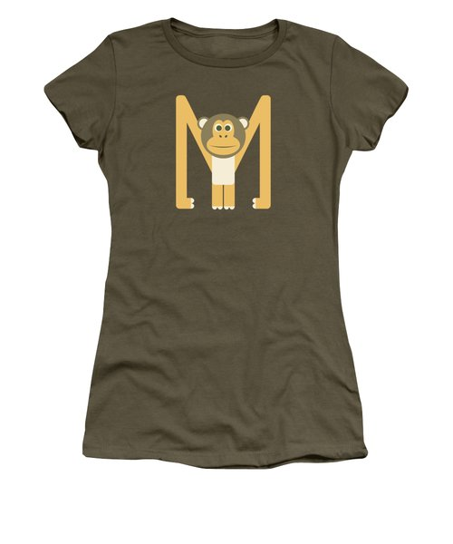Letter M - Animal Alphabet - Monkey Monogram Women's T-Shirt