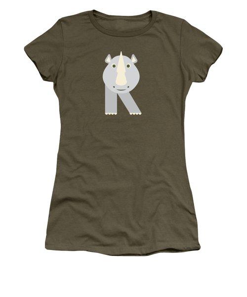 Letter R - Animal Alphabet - Rhino Monogram Women's T-Shirt