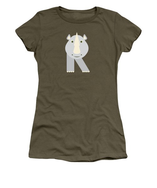 Letter R - Animal Alphabet - Rhino Monogram Women's T-Shirt