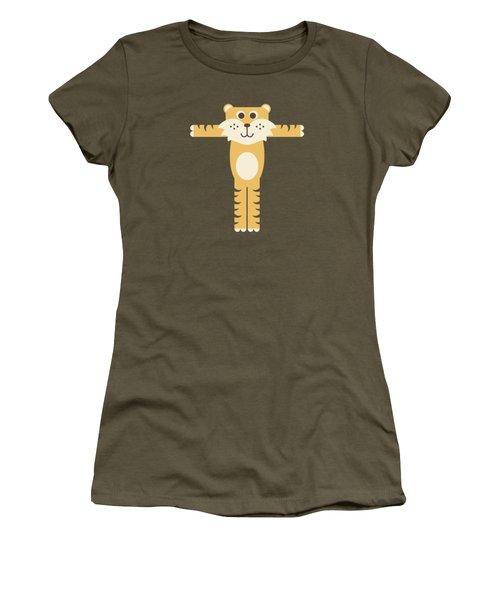 Letter T - Animal Alphabet - Tiger Monogram Women's T-Shirt