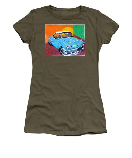 Light Blue 1950s Car  Women's T-Shirt