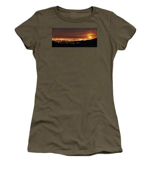 Lights Of Tucson And Moonrise Women's T-Shirt