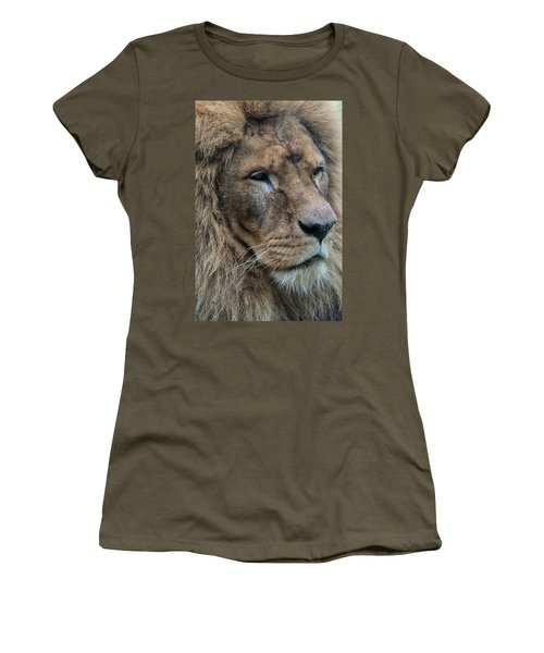 Women's T-Shirt featuring the photograph Lion by Anjo Ten Kate