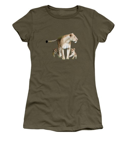 Lioness And Her Cubs Playing  Women's T-Shirt