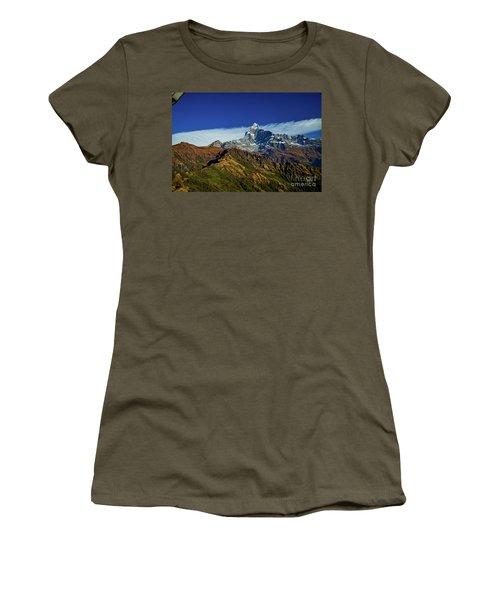 Machapuchare Mountain Fishtail In Himalayas Range Nepal Women's T-Shirt