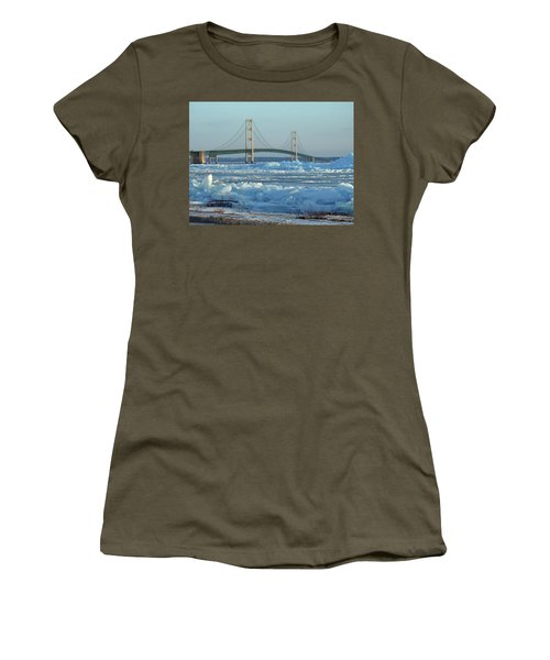 Mackinac Bridge In Ice 2161801 Women's T-Shirt