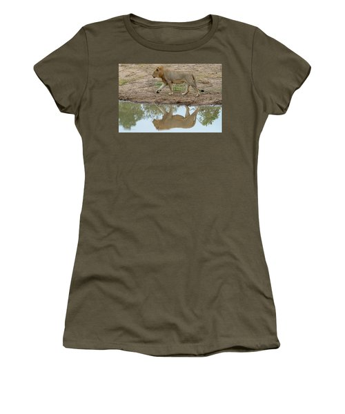 Male Lion And His Reflection Women's T-Shirt