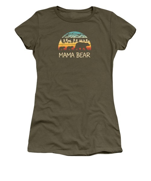 Mama Bear With 2 Cubs Shirt Retro Mountains Mother's Day Women's T-Shirt